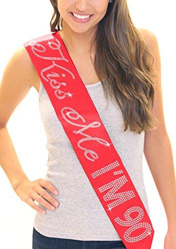 Red Rhinestone Kiss - Kiss Me I'm 90! Women's 90th Birthday Rhinestone Sash Red