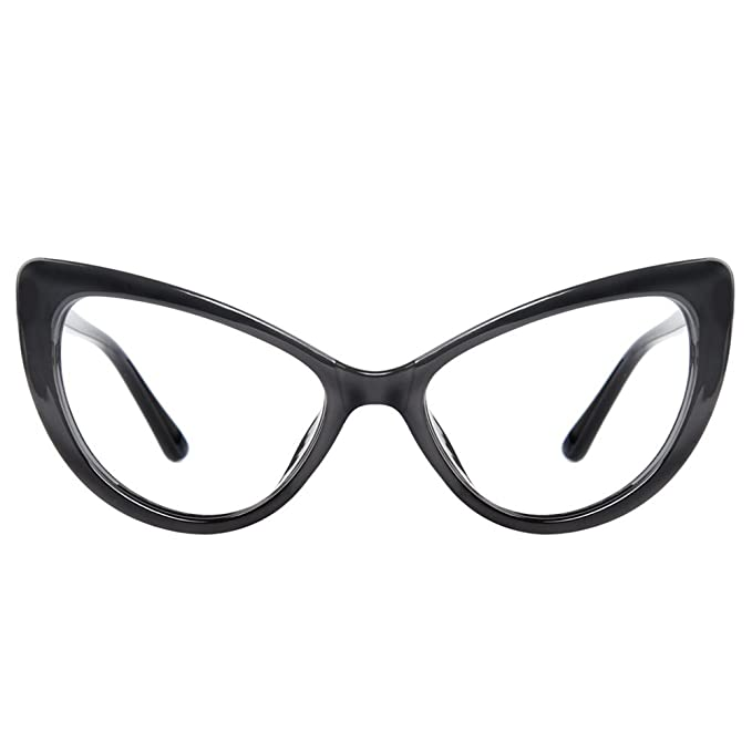 GLASSESLIT Women s Super Trendy Fashion High Pointed Cat Eye Clear Lens  Eyeglasses 92696afe598b