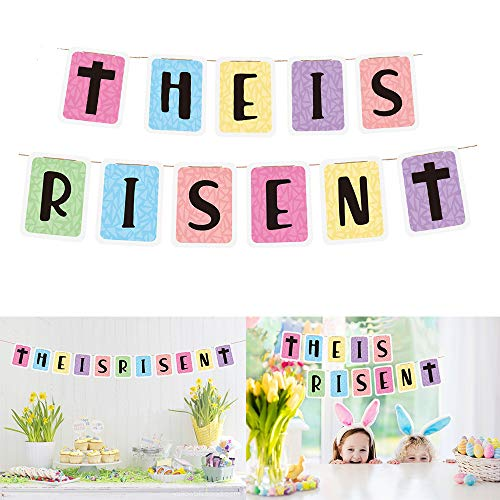 Easter Banner - HE IS RISEN Bunting Pennant Banner for Easter Party Decoration, Spring Party Supply, Easter Vigil, Egg Hunt, Religious Procession, Season Greeting Pray Gift, Home Mantel Fireplace Garland Decor Photo Props from Swibitter