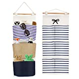 SelfTek 2 Packs Wall Hanging Pocket Storage Bag with 3 Pockets Over Cotton Linen Fabric Over the Door Closet Waterproof Organizer for Babyroom Bedroom,Bathroom and Dressing Table,White and Navy Stripe