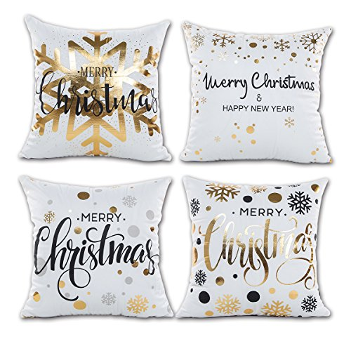 ONWAY Xmas Decoration Gold Snowflakes Merry Christmas Soft Velvet Throw Pillow Covers 18 x 18 (Set of 4, Gold Foil Xmas White) ()