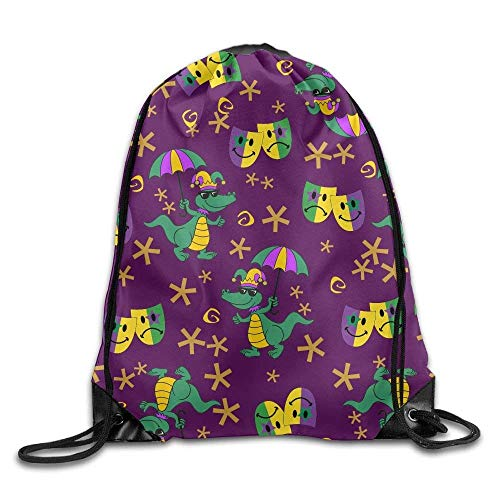 Anticso Rucksack Drawstring Bag,Lightweight Drawstring Backpack Waterproof Mardi Gras Casual Teen Girl Drawstring Backpack Lightweight String Bags Travel ()