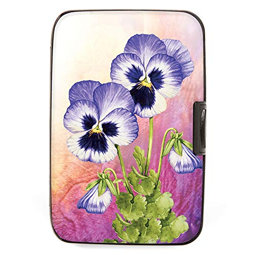 - White Pansy Armored Credit Card RFID Block Wallet and Cash Holder