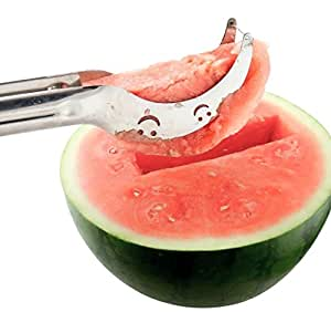 Acerich Multiuse Stainless Steel Watermelon Slicer Corer and Server Melon Cantaloupe Fruit Peeler