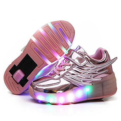 strengths Unisex Children LED Light Up Shoes Roller Skate Shoes Flashing Sneakers(Pink 10 M US Toddler)]()