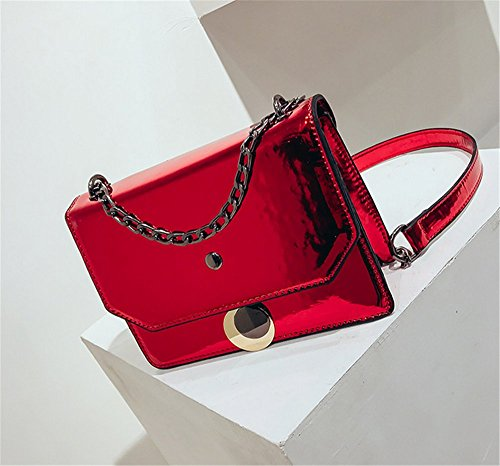 Red Sacs De Brillants De Sacs Laser Rrock De D'épaule Femme Verni Messager De Sac en Cuir Chaîne Mode De De HA8dxF