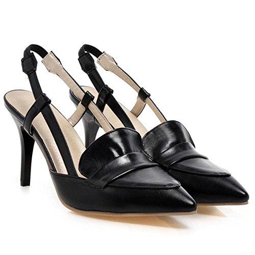 FANIMILA Mujer Moda Sin Cordones Tacon de Aguja Slingback Zapatos Verano Cerrado Sandalias Negro