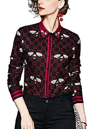 SANHION Blouses for Women's Elegant Printed Long Sleeve Shirts Button Down Casual Tops