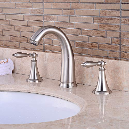 Innovation Lxy Modern Bathroom Waterfall Basin Tap,3 Hole 2 Handles Open Bathtub Sink Mixer Durable Bath Deck Mount Taps,Widespread Cold and Hot Water Mixer Flexible Faucet,Brushed ()