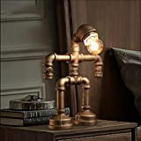 Retro Water Pipe Iron Art LOFT Study Desktop Eye Protection Table lamp/Personality Creative Industrial Wind Bedside Robot Table lamp Size: 2030cm