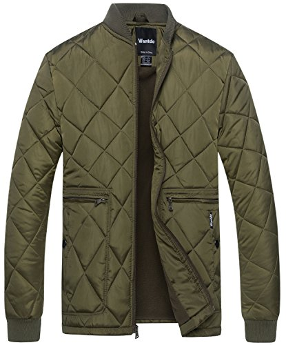 Wantdo Men's Quilted Bomber Jacket Warm Padded Outdoor Diamond Puffer Coat Army Green Medium by Wantdo