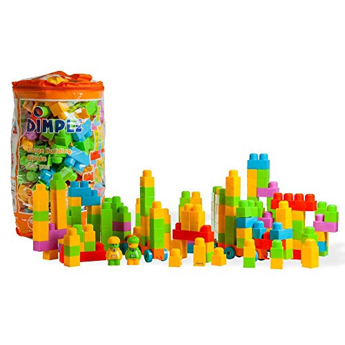 Dimple Large Building Blocks for Kids (225-Piece Set) Stackable, Multi-Colored, Interlocking Toys Safe, Non-Toxic Plastic Bright Colors, Waterproof Boys and Girls by Dimple