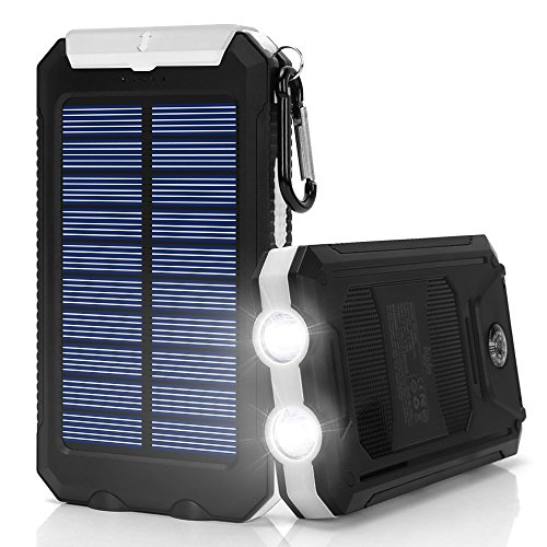 Solar Charger,10000mAh Solar Power Bank Portable External Backup Battery Pack Dual USB Solar Phone Charger with 2LED Light Carabiner and Compass for Your Smartphones and More (White)