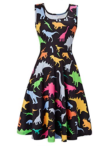 Uideazone Women Sleeveless U Collar Neck Dinosaur Print A-Line Vintage Casual Summer Mini Dress