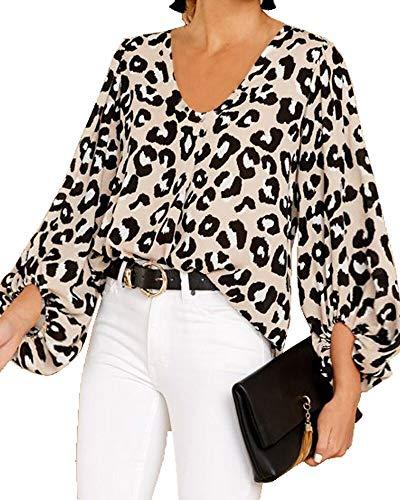 Umeko Womens Sexy V Neck Chiffon Blouses Tops Oversized Long Lantern Sleeve Pullover Shirts (Small, Z-Leopard)