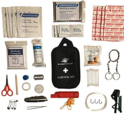 Survival AND First Aid Kit with Over 50 Pieces | Includes Multi Tool, Emergency Blanket, Survival Whistle, Magnesium Fire Starter, and Much More | Ultra Light Weight and EASY to Carry, Less than 1LB. from Alaskan Pacific