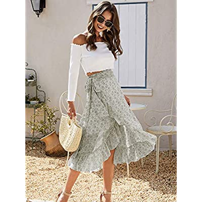 Sollinarry Women's High Waist Boho Floral Print Long Wrap Skirt Tie Side Split Ruffle Maxi Skirt at Women's Clothing store