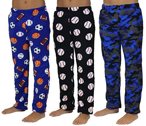 - Real Essentials Fleece Plush PJ Pajama Bottoms/Pants Sleepwear Lounge for Boys - Pack of 3 -ST 4- Size 8/10