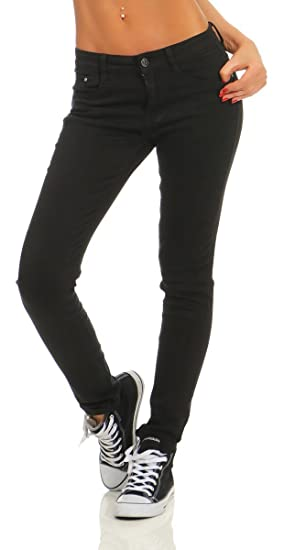 Fashion4Young 4345 Damen Hose Röhre Skinny Treggings Slim Fit Jeans Stretch Denim Übergrößen Slimline