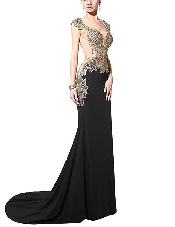 HelloGirls Womens Long Mermaid Lycra Rhinestone Evening Dress Prom Gown UK4 Black