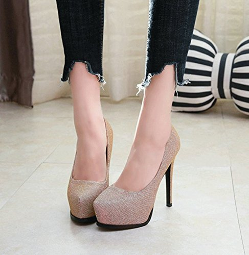 Shoes Night Sequins Sexy Thick Bottom Shallow Banquets Platform Waterproof Leisure Mouth Gold Heels Shop Shoes 12Cm Spring High Lady Tip MDRW Elegant 37 Work Single Women'S Elegant qnYYaA