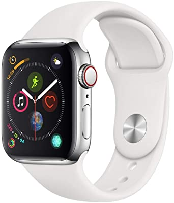 AppleWatch Series4(GPS+Cellularモデル)- 40mmステンレススチールケースとホワイトスポーツバンド