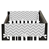 Side Rail Guards Teething Protector Baby Unisex Crib Cover Wrap for Chevron Gray and Turquoise Zig Zag Collection - Set of 2