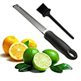 Joyoldelf Multipurpose Stainless Steel Kitchen Cheese Grater & Lemon Zester-With Outstanding Ergonomic Handle and Protective Cover-Easy To Grate Or Zest Lemon, Orange, Citrus, Cheese, Chocolate, Nuts (Black)