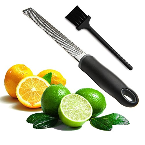 Joyoldelf Multipurpose Cheese Grater & Lemon Zester - Stainless Steel Kitchen Tool with Free Cleaning Brush-Easy To Grate Or Zest Lemon, Orange, Citrus, Cheese, Nuts (Orange Zest)