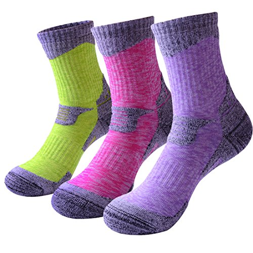 3 Pairs Camping Hiking Walking Socks for Women - Cushioned Comfortable...