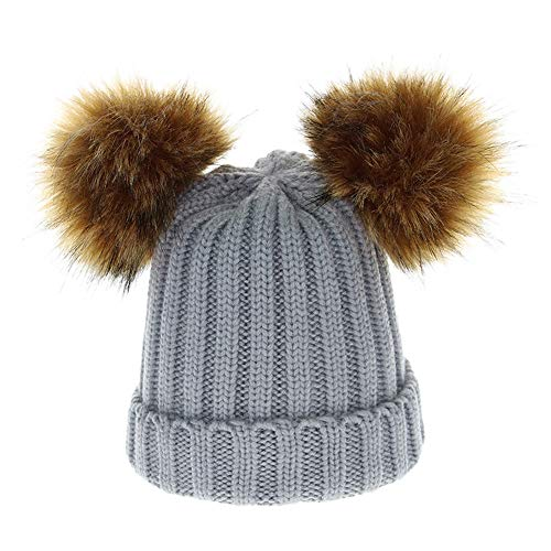 - Putars Beanie Hat Detachable Copper ButtonChunky Baggy Hat Cable Knitted Caps