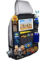 """Car Backseat Organizer, Back Seat Protector Kick Mats with 10"""" Touch Screen Tablet Holder for Kids Toddlers, Travel Accessories (1Pack)"""