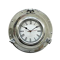 Brass Nautical Brushed Nickel Deluxe Class Porthole Clock - Nautical Wall Clock