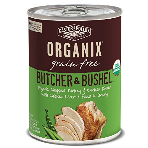Castor & Pollux Organix Butcher & Bushel Organic Chopped Turkey & Chicken Dinner with Chicken Liver & Peas Wet Dog Food, 12.7 oz., Case of 12 Cans