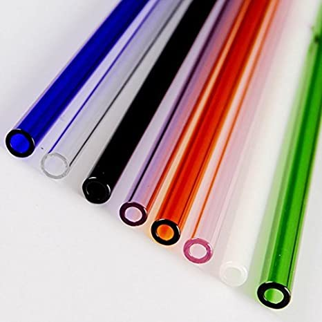 Colorful Reusable Pyrex Glass Drinking Straw Wedding Birthday Party Diameter 8mm