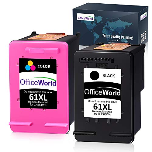 Office World Remanufactured Ink Cartridge Replacement for HP 61XL 61 XL for HP Envy 4500 5530 5534 4502 Deskjet 2540 1010 1000 2541 2542 3050A OfficeJet 4630 4635, High Yield (1 Black + 1 Tri-Color)