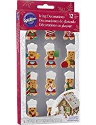 Wilton Ready to Use Icing Decorations--Gingerbread Boy and Girl Chefs