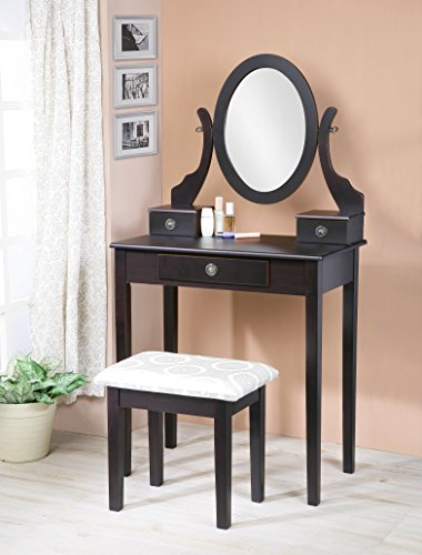 Sleek Wood Make-Up Mirror Vanity Dresser Table and Stool Set, Espresso (Table Vanity For Stool)