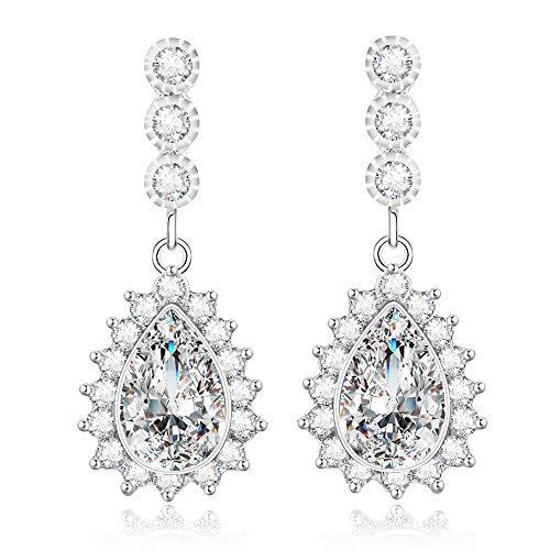 Kelofty Cz Dangle Earrings for Women, 14k-White-Gold-Plated Bridal Earrings, Womens Flower Cubic Zirconia Teardrop Earring Dangle (Zirconium Cubic Ring 14k)