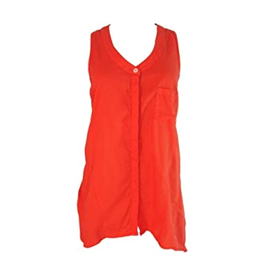 C C California Sleeveless Button Front Blouse Top Sheer Poppy Orange (Large)