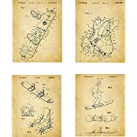 Snowboard Patent Wall Art Prints - set of Four (8x10) Unframed - wall art decor for any snowboarder