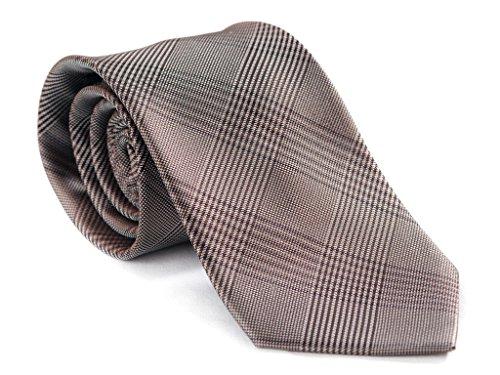 Jack Franklin Men's BROWN DIAMOND Wool Interlining Italian Weavers Silk Tie ()