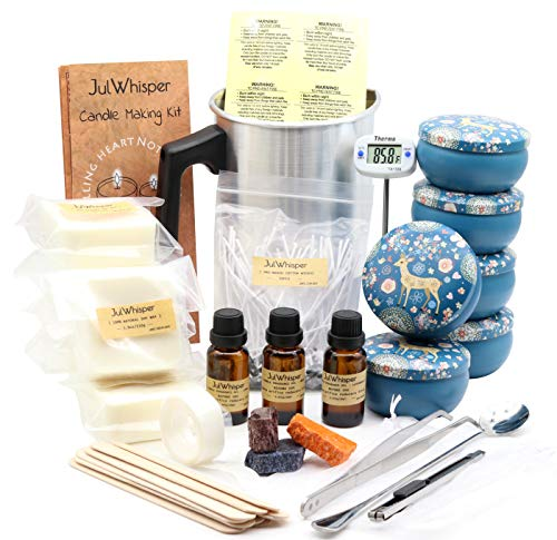 - JulWhisper Candle Making Kit to Make 6 Large Scented Soy Candles, Candle Beginners Set Including: Soy Wax, Melting Pot, Rich Scents, Digital Thermometer, 3 Color Dye, 3 Gift Bags, 50PCS Wicks & More