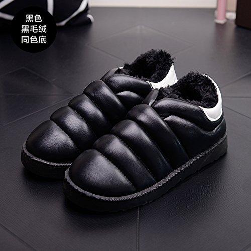 DogHaccd pantofole,Inverno impermeabile in pelle pu uomini e donne matura il cotone Snow Boots corto e fitto studenti caldo cotone piatto scarpe scarpe donna,Nero39