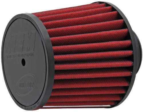 AEM 21-201D-HK Universal DryFlow Clamp-On Air Filter: Round Tapered; 2.5 in (64 mm) Flange ID; 5.063 in (129 mm) Height; 6 in (152 mm) Base; 5.125 in (130 mm) Top