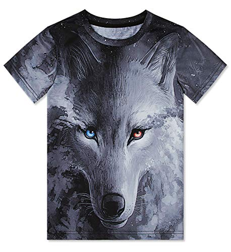 (Kids Boy's T-Shirts Black Crewneck Short Sleeve Shirts Wolf Tie Dye Short Sleeve 3D Printed Spray Paint Clothing Cool Outfit Tops Clothes for 10-12)