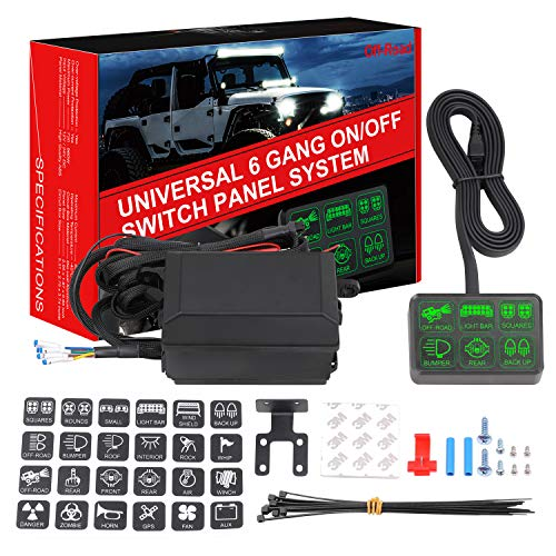 6 Gang Switch Panel, DJI 4X4 Electronic Relay System Circuit Control Box Waterproof Universal Fuse Relay Box with Wiring Harness Assemblies kit for Truck Marine Boat Jeep ATV UTV Camper