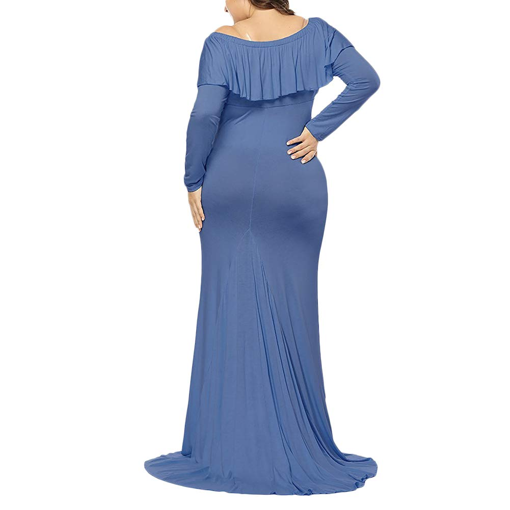662cda3951361 Pregnant Women Off Shoulder Long Sleeve Maternity Dress Baby Shower Maxi  Gown Photography Dress for Photo Shoot at Amazon Women's Clothing store: