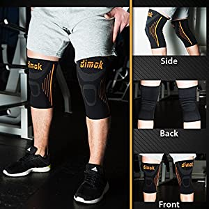 dimok Athletic Knee Brace Compression Sleeve Leg Support For Lifting Running Crossfit Men Women Kids - Best for Joint Pain Arthritis Meniscus Tear & Fast Recovery from dimok