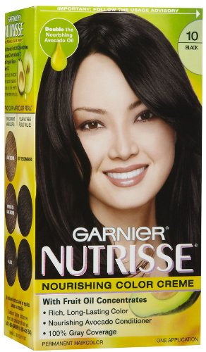 Garnier Nutrisse Nourishing Color Creme - Black 10 - Permanent Hair Color - One (1) Application Per Box - Pack of 2 Boxes ()